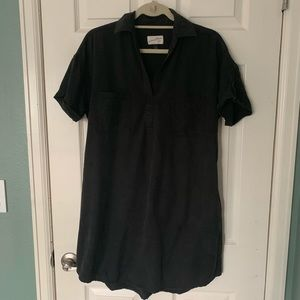 Small Black Short Sleeve Shirt Dress with Pockets